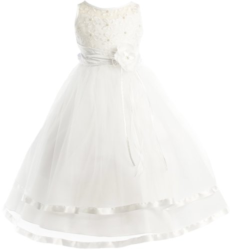 Peek-A-Boo Illusion Ribbon Communion Flower Girl Pageant Dress - White 12 (Tea Length Ribbon)