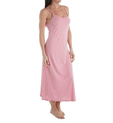 Natori Women's Shangri-La Gown, Heathered Precious Pink, (Pink Solid Cotton Flannel)