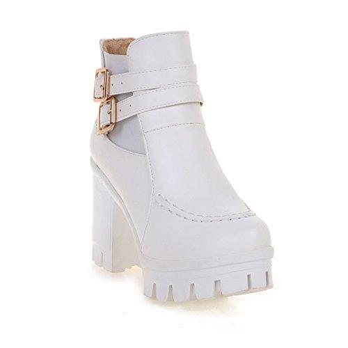 mujer uretano botas tacones Ladola de Plataforma blancas para cuadrados antideslizante 8Y5nfnq