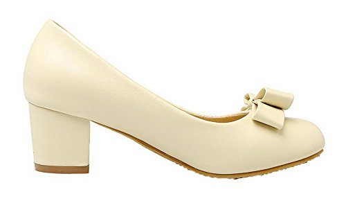 Odomolor Women's PU Round Closed Toe Solid Pumps-Shoes Beige 4FfVn