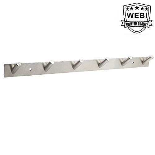 WEBI Sturdy Coat Hook Rack Towel Hanger, Stainless Steel 304 Rail Bar with 6 Hooks, Great Home, Office Storage & Organization, Heavy Duty Wall Mounted Brushed Finish, V-YZG06-2100 by WEBI