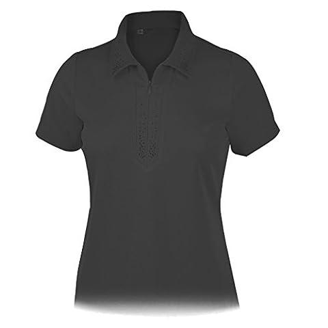 Monterey Club Ladies Dry Swing Rhinestone Detail Solid Shirt #2438 (Black, X-Large) - Signature Camp Shirts