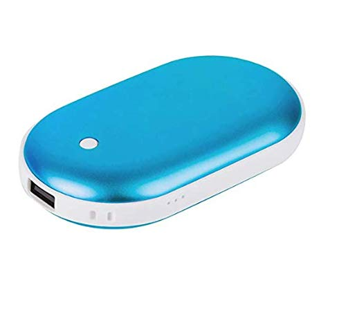 AllSeasons - {2 in 1} Double-Side Rechargeable Hand Warmer 5200mAh and Power Bank Charger for iPhone, Samsung Galaxy and Android Phone (Blue1)