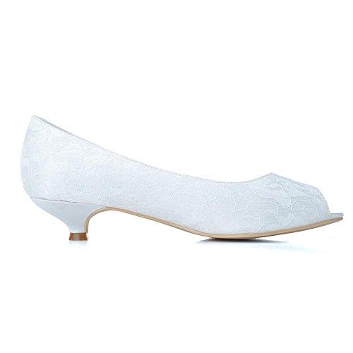 L@YC Zapatos De Boda Para Mujer # 0700-07 Peep Toe Lace Exterior Y Fiesta De Bodas Night & White Black # White