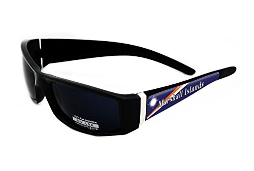 Marshall Islands Design Black Frame/Black Lens 60mm Sunglasses Item # - Marshall Eyewear