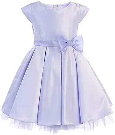 faa04a7176 iGirldress Girls  Full Pleated Satin Junior Bridesmaid Flower Girl Dress  (6mos-12Years)