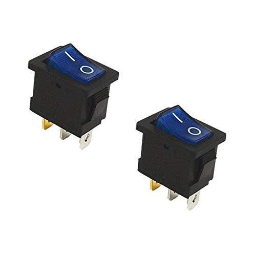 2X Blue On/Off Rectangular Car Boat 120V Rocker Switch LED Light SPST 1/2