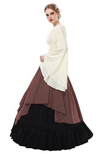 d821672d54b3 ROLECOS Womens Retro Renaissance Medieval Dress Trumpet Sleeve Peasant  Dresses Coffee M