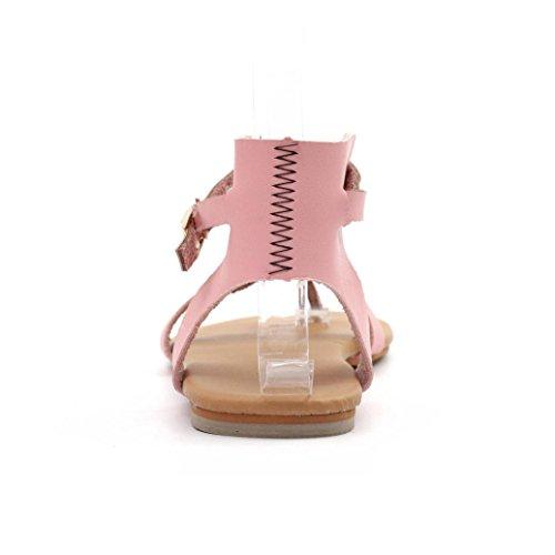 HCFKJ Lace Atmungsaktive Damen Casual Strand Sommer Sommer Schuhe Runde Sandalen Sandalen up Rom Flache Frauen Frauen Pink Zehe zz8wArq5x