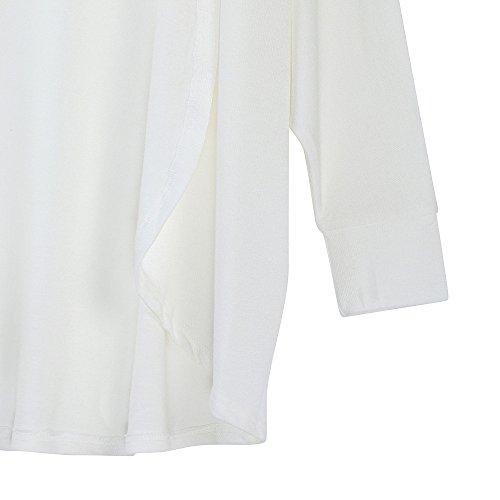 Tricot Moyenne Mode Longue Manteau Section Automne Longues Manches Top Veste Couleur Blanc Cardigan Col Unie La Yebiral Hiver Femmes Et Nouveau En V 60adxqa