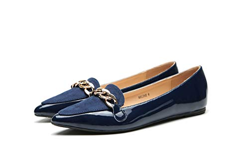 Mila Lady Arlene Stylish Patent Leather Pointed Toe Comfort Slip On Ballet Dress Flats Shoes for Women,Navy 8