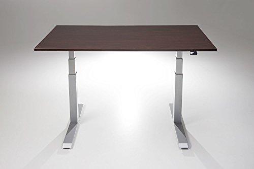 "ModDesk Pro Adjustable Height Standing Desk w/ Silver Frame (Medium 24"" x 48"" x 3/4"", Espresso)"