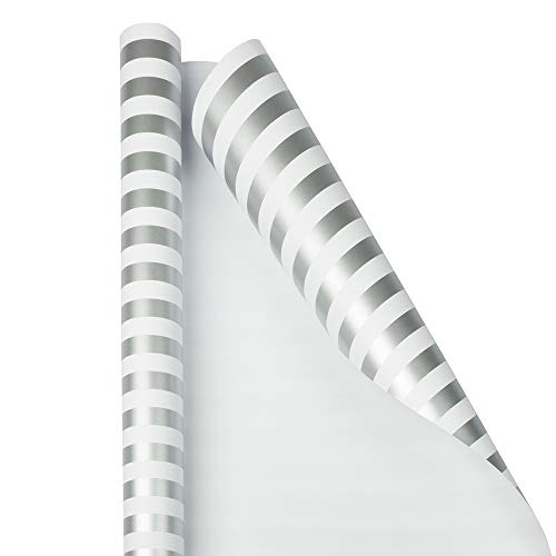 JAM PAPER Gift Wrap - Striped Wrapping Paper - 25 Sq Ft - Silver & White Stripes - Roll Sold -
