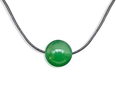 Collier bijoux de pierre gemme, jade, jade Malaisie, naturel, rond, 10mm 36a94b524f74