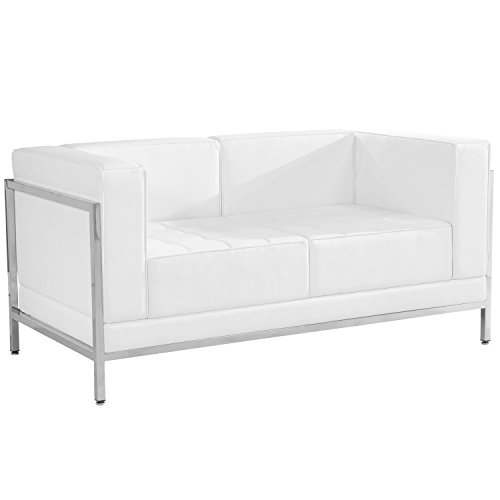 (Flash Furniture HERCULES Imagination Series Contemporary Melrose White Leather Loveseat with Encasing Frame)