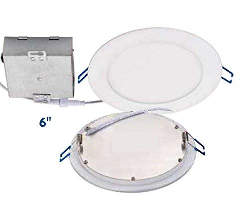 Topaz Lighting (Pack of 6) 77234 12W Slim 6'' Dimmable Recessed Ceiling Downlight, 4000K, White, Easy to Install, Save Time and Money, Energy Efficient LED Lighting