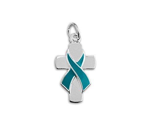 (Teal Ribbon Cross Awareness Charm (1 Charm - Retail))