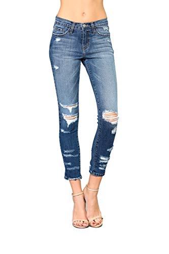 Vervet by Flying Monkey Jeans Beau Mid-Rise Distressed Ankle Crop Skinny Medium Wash VT143 (25/1)