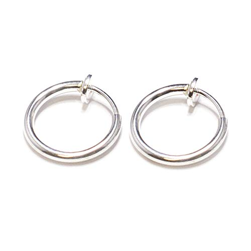 Silver Non Piercing Spring Hoops Jewelry - (Lip,