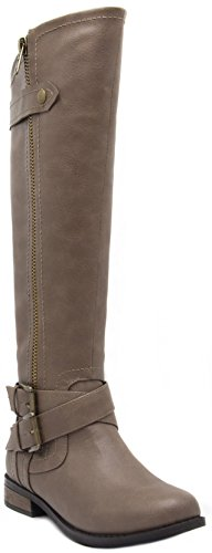 LONDON FOG Womens Hillary Zipper and Buckle Knee High Riding Boot Taupe 8.5