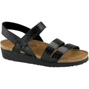 NAOT Women's Kayla Sandal Black Reptile Patent Leather Size 35 EU (4.5-5 M US Women)