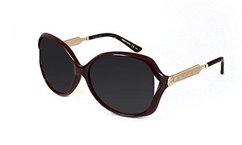 Round Gucci Oversized Sunglasses (Gucci GG 0076 S- 004 BURGUNDY/GREEN GOLD Sunglasses)