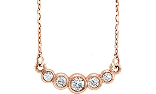 """Graduated Bezel Set Diamond Necklace in 14k Rose Gold, 16-18"""" (1/5 Ctw, Color G-H, Clarity I1)"""