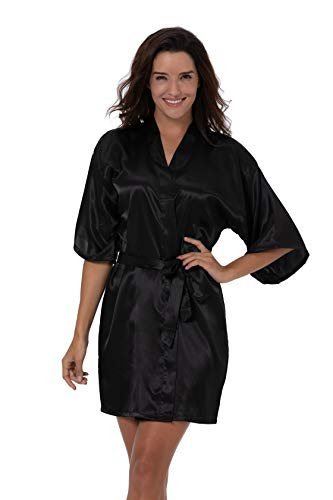 ShinyLuck Women's Satin Short Kimono Robe Solid Color Dressing Gown Bridal Party Robe (Small, Black)