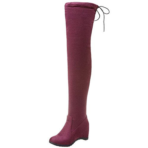 Red Heel Stretch TAOFFEN Winter Wine On Shoes Knee Wedges Autumn Boots Pull Over Women qwa8w7nX