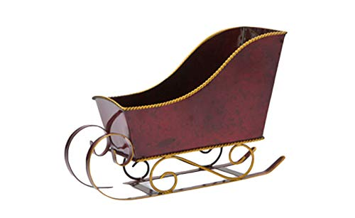 FavorOnline Red and Gold Christmas Sleigh - Empty Container 8-inch (Santa Decoration Sleigh)