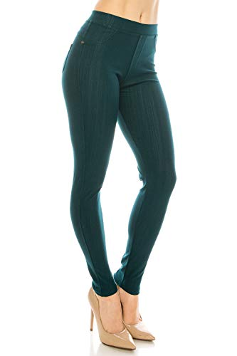 ShyCloset Basic Skinny Jeggings Pants - Skinny Slim Fit Jean Stretch Leggings (Regular/Plus Size) (ONE, Ankle - Hunter Green)