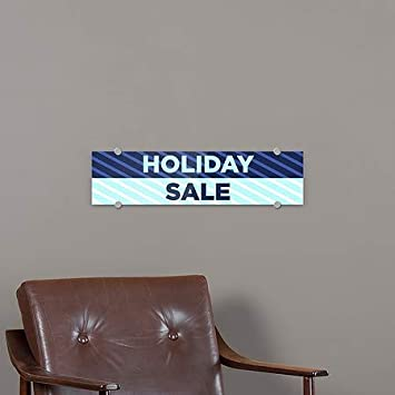 24x6 5-Pack Holiday Sale Stripes Blue Premium Acrylic Sign CGSignLab