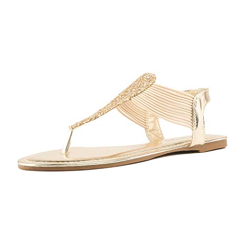 DREAM PAIRS SPPARKLY Women's Elastic Strappy String Thong Ankle Strap Summer Gladiator Sandals Gold Size 8
