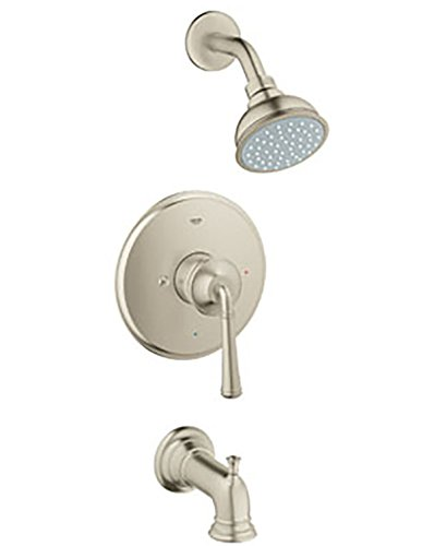 GROHE Gloucester Brushed Nickel 1-Handle WaterSense Bathtub and Shower Faucet Trim with Single Function Showerhead