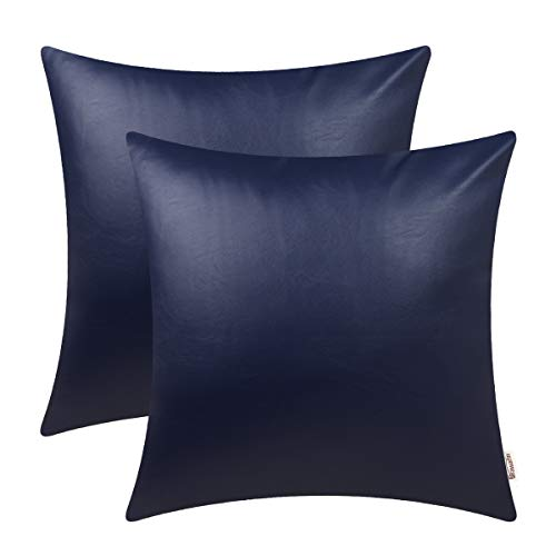 - Brawarm Cozy Throw Pillow Covers Cases for Couch Sofa Bed Solid Faux Leather Luxury Soft Thick Cushion Covers for Home Decorative 20X 20 Inches Navy Blue Pack of 2