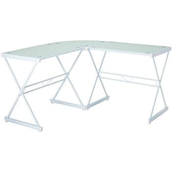 Admirable Amazon Com Techni Mobili Rta 3805L Wht L Shaped Glass Interior Design Ideas Clesiryabchikinfo