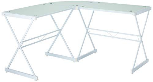 - Techni Mobili RTA-3805L-WHT L-Shaped Glass Computer Desk, White