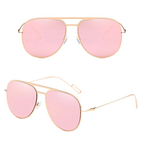D'acier Lunettes pour de de Sunglasses Pink et Protection Hommes Mode Femmes de Unisexe Soleil Zhhlaixing Inoxydable des Unisexe Lunettes des Matérielle 0TSnSa