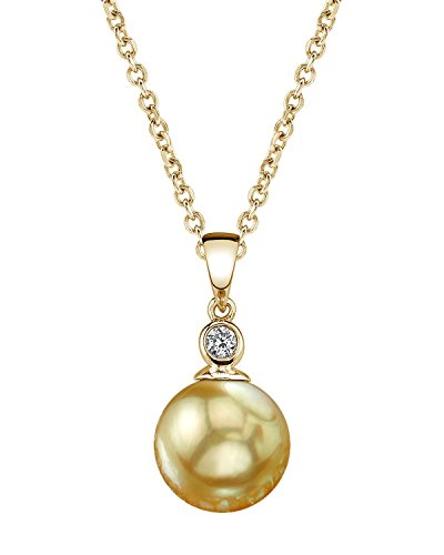 11mm Sea Pearl Golden South (THE PEARL SOURCE 14K Gold 10-11mm Round Golden South Sea Cultured Pearl & Diamond Michelle Pendant Necklace for Women)