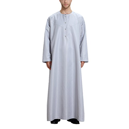 Gray Musulman Manche Casual Islamique Pour Vêtements Style solid orient Party Color Dubai Longue Moyen Zhhlaixing Hommes Robes RaqTAq