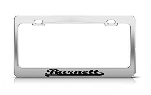 Burnett Last Name Ancestry Metal Chrome Tag Holder License Plate Cover Frame License Tag Holder