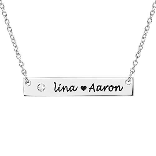 LONAGO 18K Gold Plated Crystal Necklace Sterling Silver Initial Name Bar Pendant Engravable Customizable Bridesmaid (GKNL29-sterling sliver, (Engravable Silver Pendants)