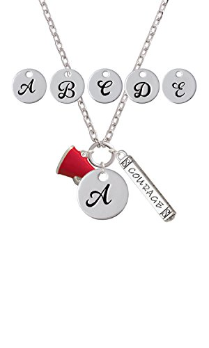 Small Red Megaphone Custom Initial Courage Strength Zoe Necklace