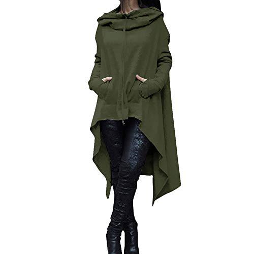 Dressin_Women's Long Sleeve Fashion Loose Long Hooded Tops Sweatshirt Asymmetric Blouse