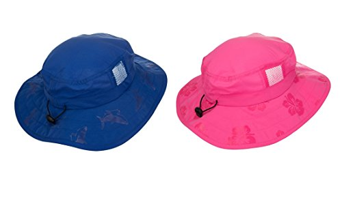 Kids' UPF 50+ Safari Sun Hat, Pink And Blue Flowers, Uv Sun Protective, Lightweight, Velcro Straps Selection (2 Pack Pink and Blue (One Each))