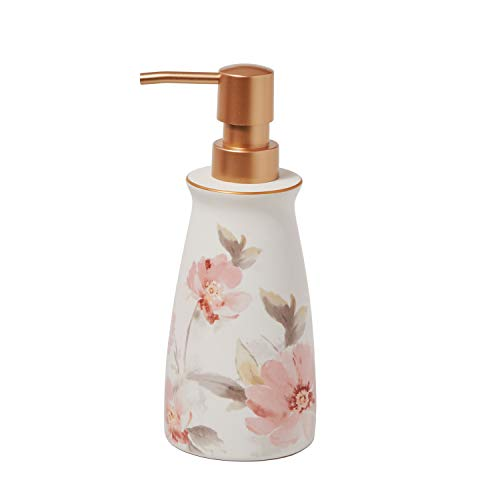 SKL Home by Saturday Knight Ltd. Misty Floral Lotion Dispenser, Pink/Multi (Pink Soap Dispenser)