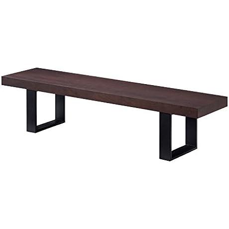 J And M Furniture 180721 B Block Bench Dark Walnut
