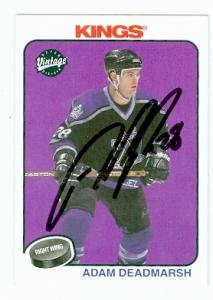 Autograph Warehouse 74190 Adam Deadmarsh Autographed Hockey Card Los Angeles Kings 2001 Upper Deck Vintage No . 116