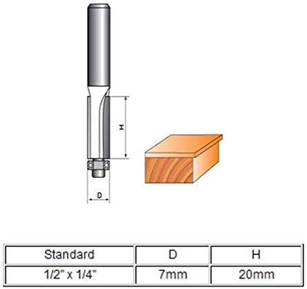 1//2 inch x 1//4-inch Carpentry 2-Flute Flush Trim Trimming Router Bit with bearing