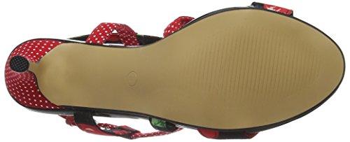 Joe BrownsTutti Frutti Polka Dot Sandals - Sandalias de Punta Descubierta para Mujer Multicolour (a-black/red)